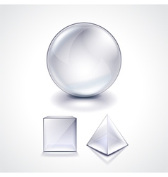 Glass sphere cube and pyramid vector image