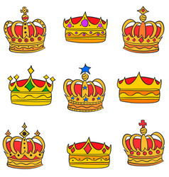 Gold crown style various doodles vector