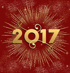 Happy New Year 2017 firework design in gold vector image vector image