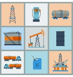 Industrial set of oil and petrol icon vector image vector image