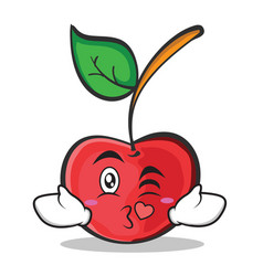 Kissing face cherry character cartoon style vector