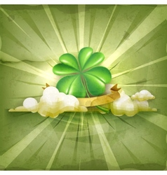 Lucky Clover old style background vector image