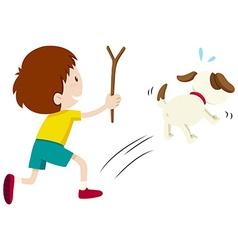 Mean boy chasing a dog vector