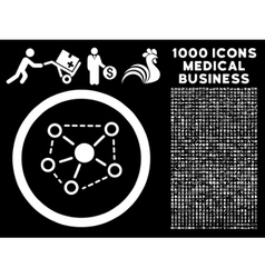 Molecule links rounded icon with medical bonus vector