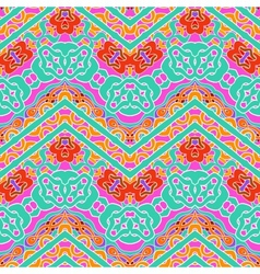 Multicolor pattern with ornamental zigzag lines vector
