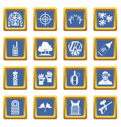 Paintball icons set blue vector