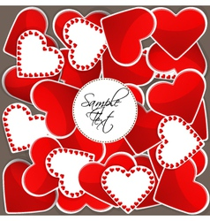 Pattern with big red hearts and many small hearts vector