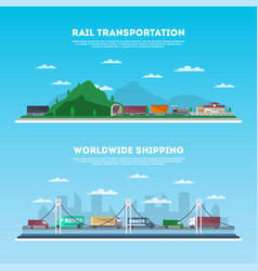 road and railway transportation banner set vector image