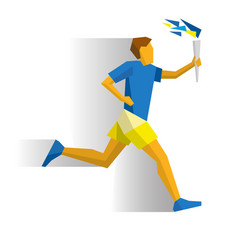running torchbearer sportsman with torch vector image