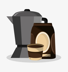 Set metallic jar and bag of coffee vector