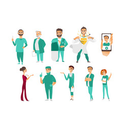 Set of doctors therapists nurses medical staff vector