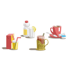 Set of drinks on a white background vector