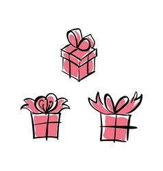 set of pink paper boxes with bows isolated on vector image vector image