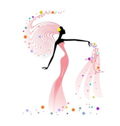 Silhouette of woman with flowers vector image