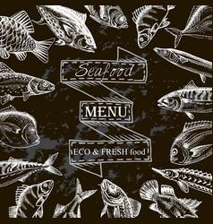 Sketch sea food restaurant vector
