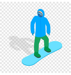 Snowboarder with snowboard deck isometric icon vector