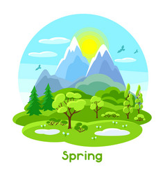 Spring landscape with trees mountains and hills vector