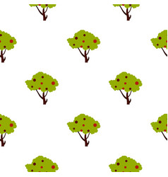 Tall tree with fruits pattern flat vector