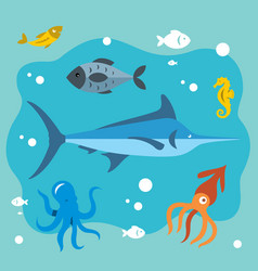 underwater life flat style colorful vector image vector image