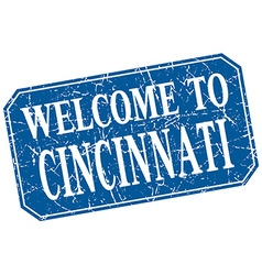 Welcome to cincinnati blue square grunge stamp vector