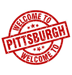 Welcome to pittsburgh red stamp vector