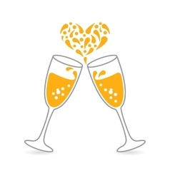 Wineglasses of Sparkling Champagne for Happy vector image