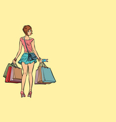 young woman with shopping bags on sale vector image vector image