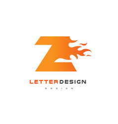 z letter flame logo design fire logo lettering vector image