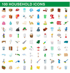 100 household icons set cartoon style vector