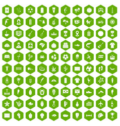 100 south america icons hexagon green vector
