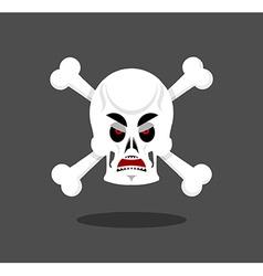 Angry skull emotion Crossbones Aggressive skeleton vector image