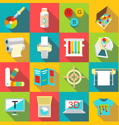 printing processes icons set flat style vector image