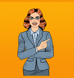 Pop art successful business woman pointing finger vector