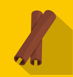 two cinnamon stick spice icon flat style vector image