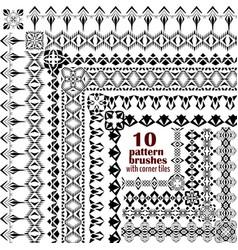 set of geometric borders in ethnic style vector image