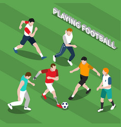 Disabled person playing soccer isometric vector