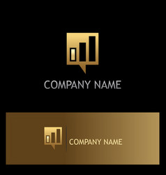 square business talk communication gold logo vector image
