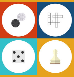 Flat icon entertainment set of guess chequer vector