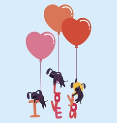 Cute valentine with dogs vector