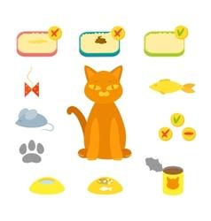 cat set flat vector image