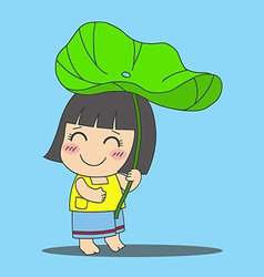 Lotus leaf girl vector