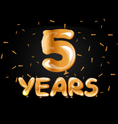 5 years anniversary celebration greeting card vector image