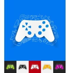 Joystick paper sticker with hand drawn elements vector