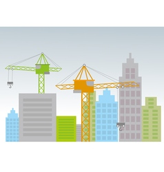 City with construction cranes vector