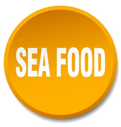 Sea food orange round flat isolated push button vector
