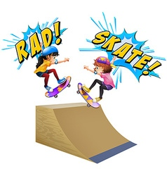 Two kids on skateboards vector
