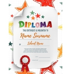 Diploma template with hand drawn stars vector