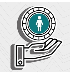 Hand and silhouette person isolated icon design vector