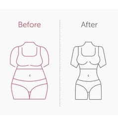 A fat and slim woman figure vector