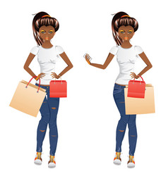 afro american shopping girl vector image